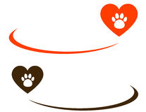 Background with heart and paw Stock Photo