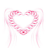 Background with heart of pink lines. Royalty Free Stock Photography
