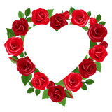 Background with heart and red roses. Vector illustration. Stock Image