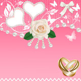 Background with heart rose wedding rings and pearl Stock Images