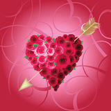 Background with heart and roses. Royalty Free Stock Photo