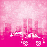 Background heart shape bokeh and city in pink tone Royalty Free Stock Image