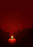 Background with heart-shaped candle. Dark-red background with burning heart-shaped candle. Flame of love concept Royalty Free Stock Photography