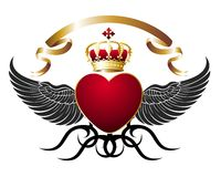Background with heart,wings and gold royal crown Stock Photography