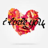 Background with heart and words i love you royalty free illustration