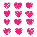 Background hearts. A set of brush painted hearts for design Royalty Free Stock Photos