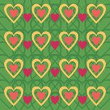 Background with hearts. On green Royalty Free Stock Photography