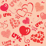 Background with hearts. Vector background - pink texture with hearts royalty free illustration