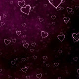 Background with hearts. Dark purple background with beautiful hearts Stock Photos