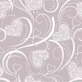 Background with hearts. Seamless grey background with hearts Stock Photo