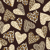 Background with hearts with animal skin pattern. vector illustration