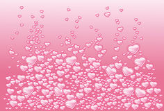 Background with hearts as bubbles of champagne Stock Image