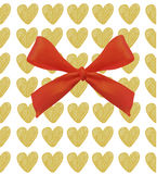 Background with hearts and bow. VECTOR illustration. Golden hearts and magenta red Stock Photography