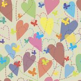 Background of hearts and butterflies Royalty Free Stock Photo
