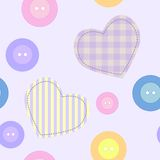 Background with hearts and buttons. Seamless background with hearts and buttons Royalty Free Stock Photos