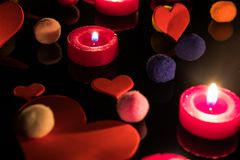 Background with hearts, candles and coloured balls. Love, colour Stock Image