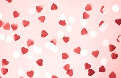 Background with hearts and circles for Valentine`s Day royalty free stock images