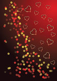 Background with hearts and confetti Royalty Free Stock Image
