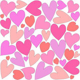 The background of hearts of different sizes and colors. Royalty Free Stock Photos