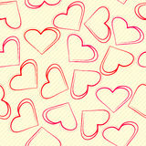 Background of hearts drawn in the notebook Stock Images