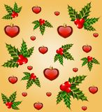 Background with hearts and fir Royalty Free Stock Photos
