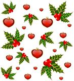 Background with hearts and fir Stock Images