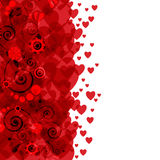 Background of hearts and flowers Stock Photos