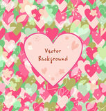 Background with hearts, flowers, leafs. Decorative multicolors card Stock Photos