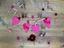 Background with hearts and flowers Royalty Free Stock Photos