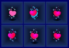 Background, hearts with flowers, stereoscopic, illusion, relief, blue, abstract, illustration, vector,. New, exclusive, foundation, coloured, bright royalty free illustration