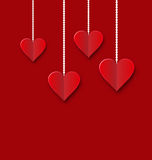 Background of hearts hanging on strings - Valentine s Day Royalty Free Stock Images