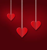 Background of hearts hanging on strings - Valentine s Day Stock Images