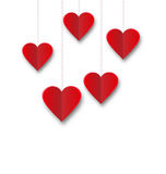 Background of hearts hanging on strings - Valentine s Day Stock Photo