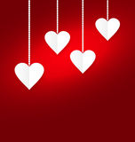 Background of hearts hanging on strings - Valentine s Day Stock Photography