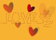 Background with hearts. And LOVE highlight Royalty Free Stock Image