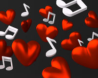 Background with hearts and musical notes Stock Images