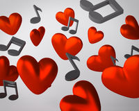 Background with hearts and musical notes Royalty Free Stock Photo
