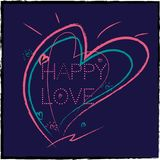 A background  hearts painted in different colors and text. Holiday red heart abstract background Royalty Free Stock Photo