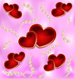 Background with hearts and pearls Stock Image