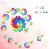 Background with hearts rainbow flowers Royalty Free Stock Photo