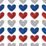 Background with hearts of red, blue and silver glitter, seamless pattern Royalty Free Stock Images
