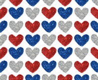 Background with hearts of red, blue and silver glitter, seamless pattern Royalty Free Stock Photography