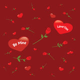 Background with hearts and roses Royalty Free Stock Photography