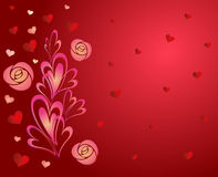 Background with hearts. Roses wallpaper abstract vector illustration