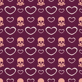Background with hearts and skulls. Royalty Free Stock Images