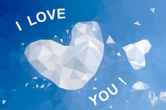 Background of hearts in the sky of a polygonal mosaic Stock Photo