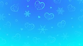 Background of hearts and snowflakes. Background of snowflakes and hearts with ornament of curls, in light blue colors stock illustration