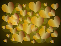 Background with hearts. Background for St. Valentine's Day. Hearts, circles of yellow, gold color Stock Image