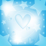 Background with hearts and stars. Blue and white background with hearts and stars Stock Photography