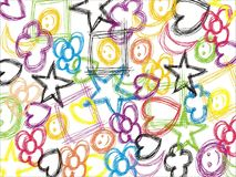Background with hearts and stars. Illustrated doodle background with hearts and stars Royalty Free Stock Photo